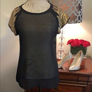 Stunning Black and Gold Blouse - Size Medium